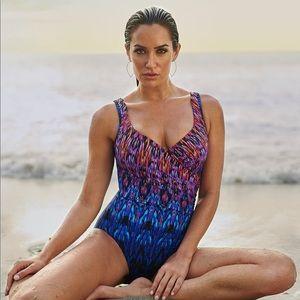 NWT MIRACLESUIT Vesuvio It's A Wrap Tummy Swimsuit